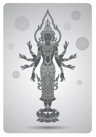 thai culture: Brahma outline tradition thai design vector illustration