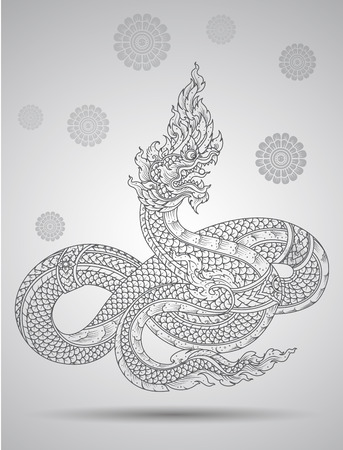 black and white dragon: king snake outline thai tradition thai design vector illustration Illustration