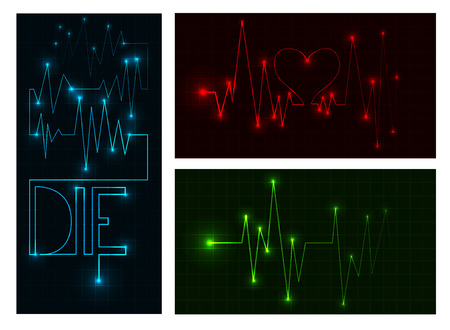 taking pulse: Cardiogram on the monitor vector Illustration