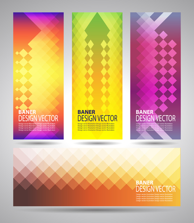 single color image: Vector set banners set with polygonal abstract shapes Illustration