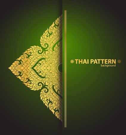 wat: Thai art outline vector Illustration