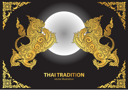 tradition: lion thai tradition style vector