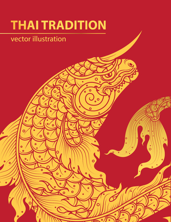 Thai style: fish line thai tradition style vector