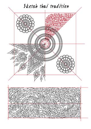 sketch hand drawn elements Vector illustration Ilustração