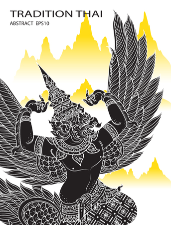 king thailand: king bird outline thai tradition thai design vector illustration Illustration