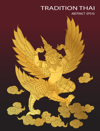 tradition: king bird thai tradition cover vector Illustration