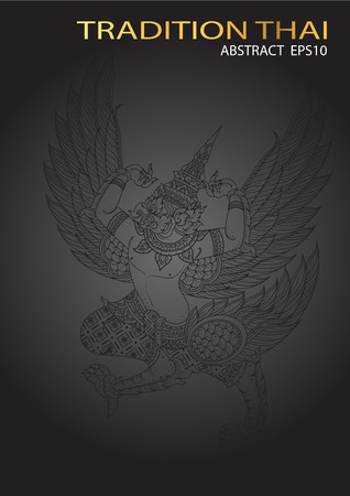 tradition: king eagle thai tradition vector