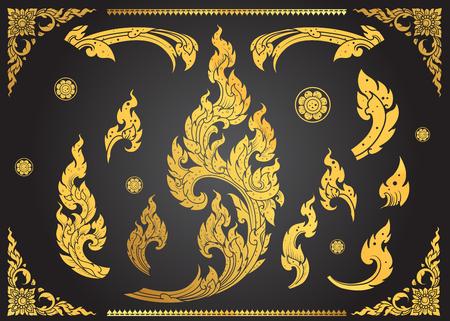 royal background: Set of Thai art element Ethnic Art vector Illustration