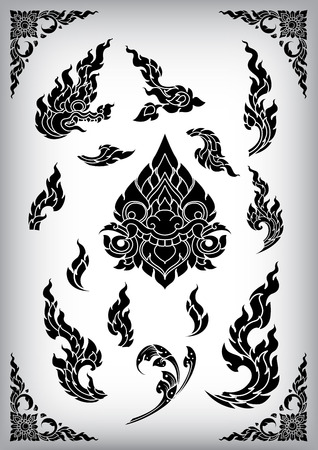 Set of Thai art element Ethnic Art vector Çizim