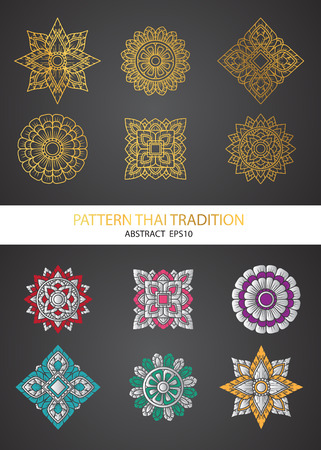 decorative element: pattern thai tradition collection Illustration