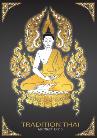 tradition: buddha thai tradition vector Illustration