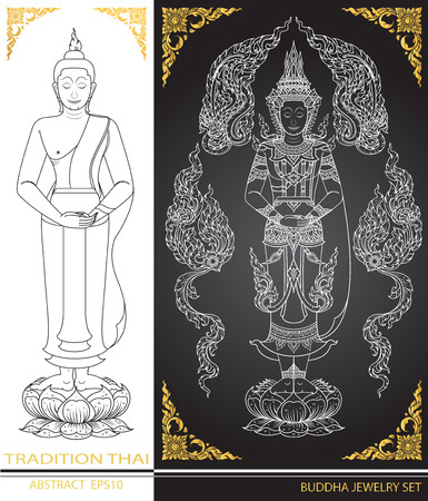 tradition: thai tradition Buddha Jewelry Set Illustration
