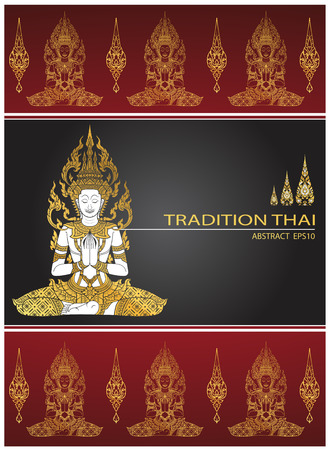 cover tradition thai Buddha Jewelry Set Illustration