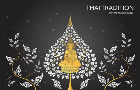 buddha and leaf of thai tradition 向量圖像