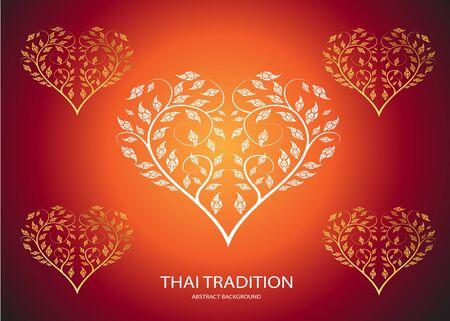 flourishing: Heart shape leaf of thai tradition background Illustration