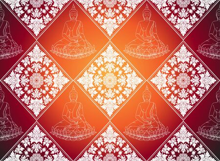 thai silk: buddha abstract thai tradition pattern background Illustration