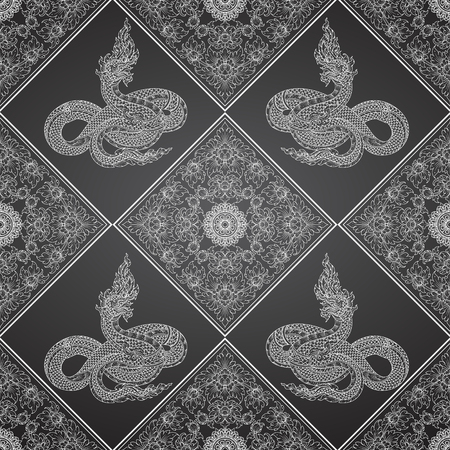 king thailand: king snake abstract thai tradition pattern Illustration