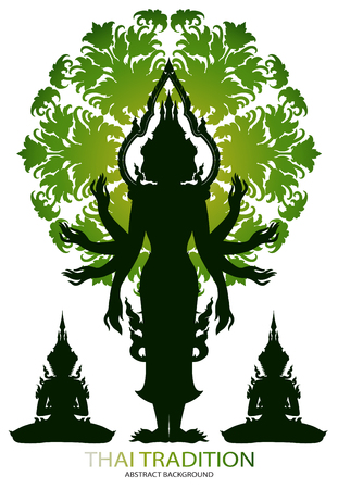 Silhouette Brahma rama and thai tradition pattern