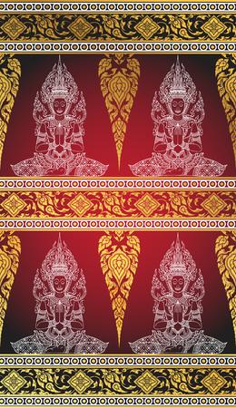 thai silk: silk buddha thai tradition abstract