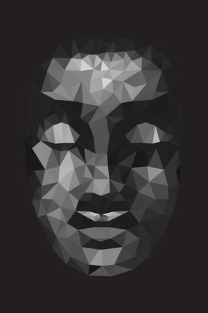buddha head: abstract tradition head buddha polygon