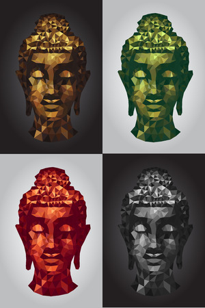 abstract tradition head buddha polygon set