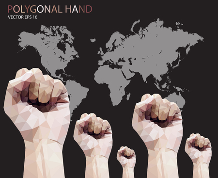 clenched fist: Polygonal style clenched fist vector