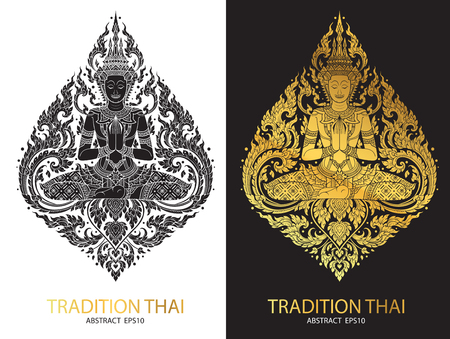 thai style: cover tradition thai Buddha Jewelry Set Illustration