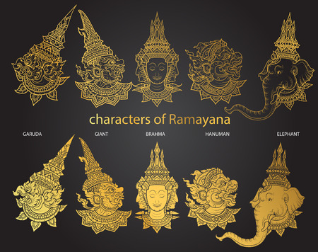 set characters of Ramayana vector