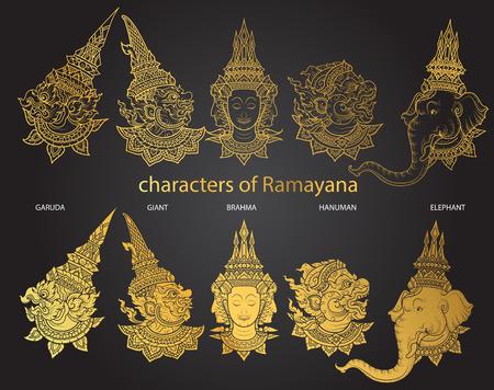 king thailand: set characters of Ramayana vector