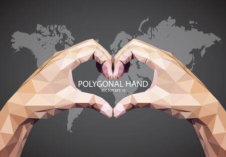 fairly: Abstract Triangular Hand heart Sign Illustration