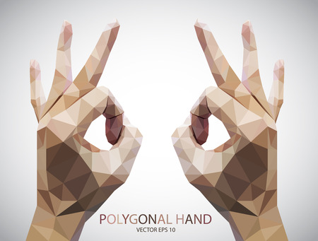 hand sign: Abstract Triangular Hand okey sign