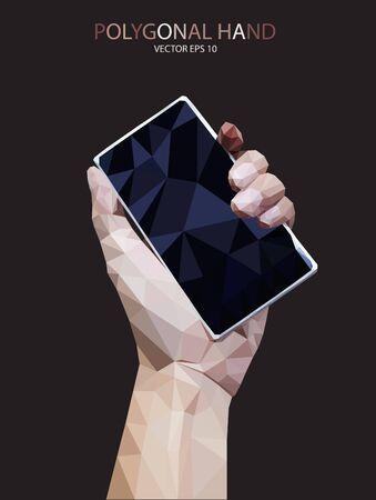 Abstract Triangular hand telephone vector