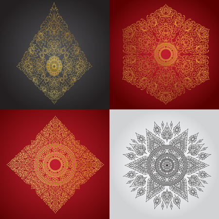decorative element: line thai tradition abstract background