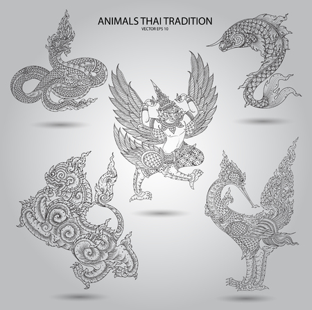 thai style: set animal thai tradition black and white Illustration