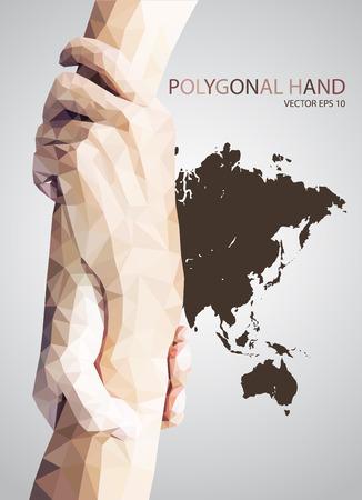 Résumé Triangulaire tenir la main, aide signe vecteur