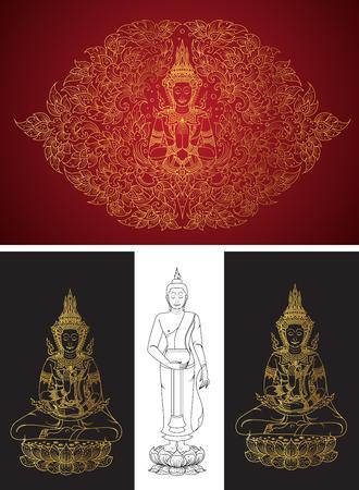 thai buddha: set buddha line thai tradition