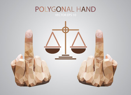 off balance: Fuck you hand triangle polygonal on  justice scales Illustration