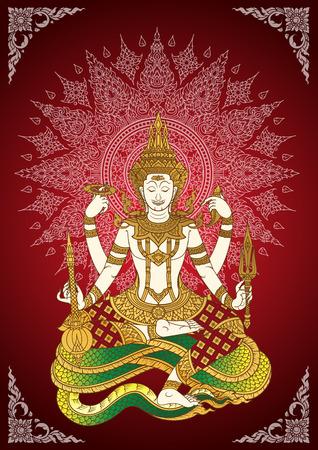 God Shiva thai tradition line Illustration