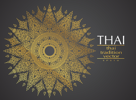 Thai art element Traditional gold for greeting cards 矢量图像
