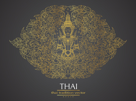 Thai art element Traditional gold for greeting cards Çizim
