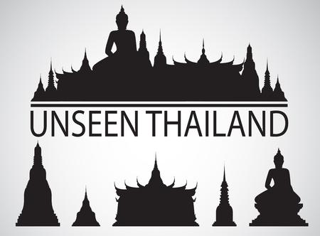 silhouette Wat in bangkok thailand Çizim