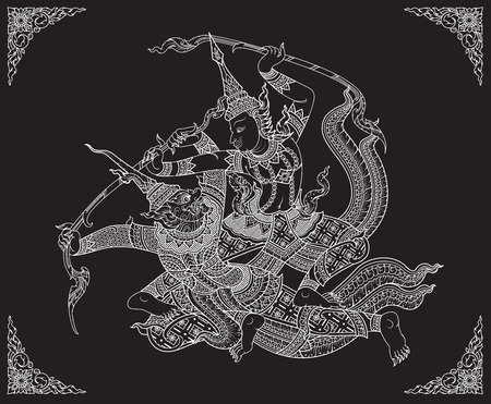 rama: Rama battle a giant vector Illustration