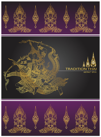 cover tradition thai,Rama battle a giant Illustration