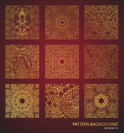 Thai art pattern background element Traditional gold