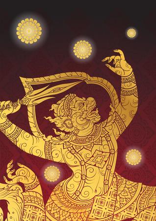 Thai tradition Hanuman characters of Ramayana Çizim