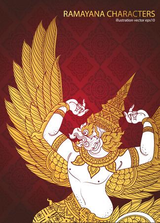 buddhism: king bird thai tradition cover vector Illustration