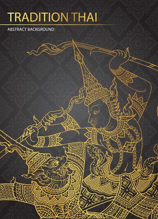 rama: Rama battle a giant on pattern background vector Illustration