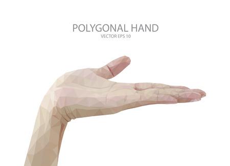 unfurl: polygon hand fingers sign vector Illustration