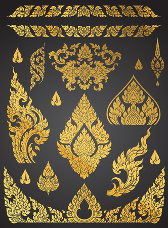thai motifs: Set of Thai art element, Decorative motifs. Ethnic Art, icon vector Illustration