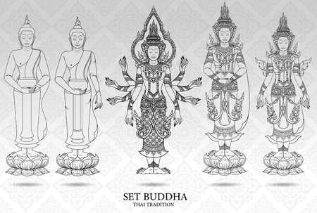 Thai style: buddha set thai tradition style,pattern background vector